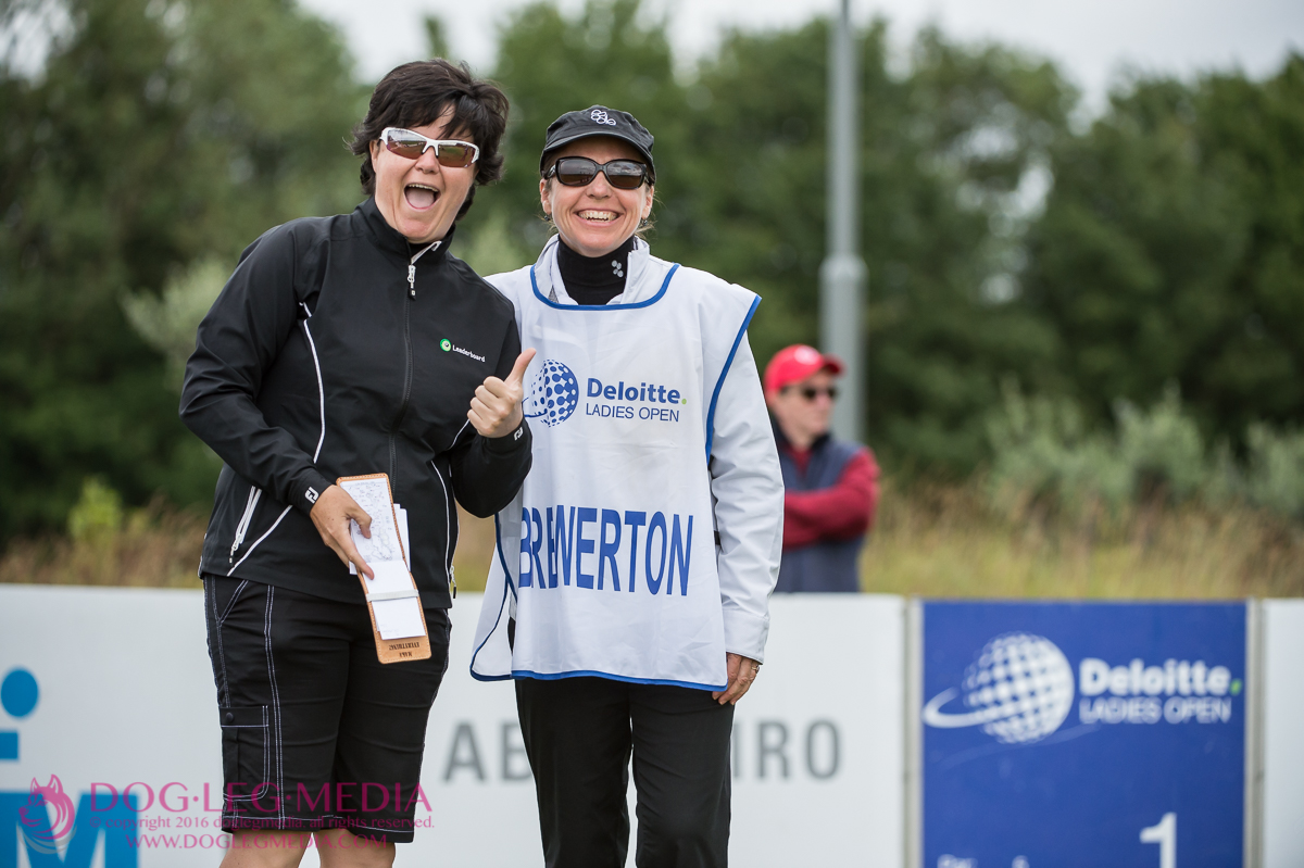 Becky Brewerton and PoodleGolf's Wendy Byrne near the 1st tee at the 2015 Deloitte Ladies Open