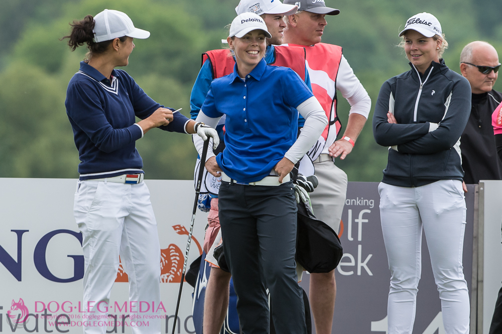 Dewi Schreefel, Christel Boeljon, and Roos Haarman on the 14th tee during day 2 at #INGGolfWeek