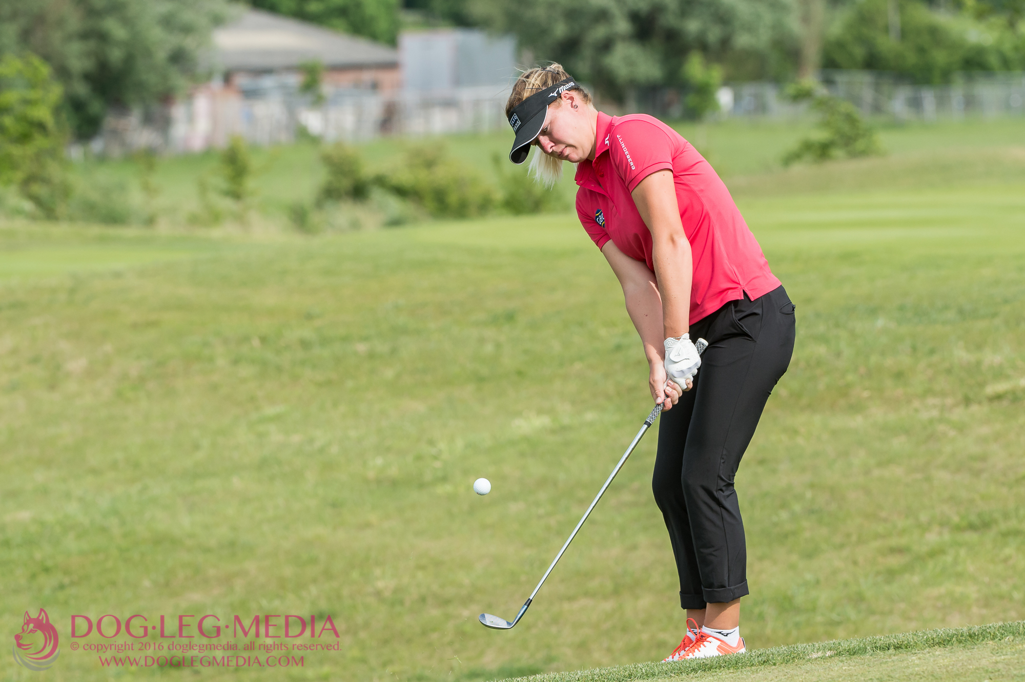 Denmark's Nicole Broch Larsen chipping onto the 15th during the afternoon match on day 2 of #INGGolfWeek